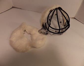 Vintage skeleton fascinator hat and collar set with veil and white mink collar