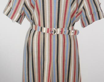 1970s Vintage Ara Ara Modell Striped Tea Dress