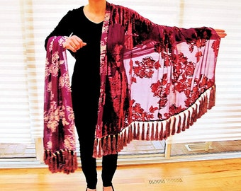 Double Sided Shawl in Cut Velvet with 68 Gorgeous  Silk Tassel Fringe by the Old Silk Route