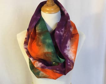 Cotton Infinity scarf One of a kind hand dyed