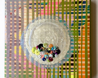 "Mons Veneris / Embroidered Acrylic Painting on  5"" x 5"" Canvas by Sam Pletcher / Sewn Sequin Painting"