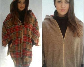 70s Plaid Cape Coat, Hood, Reversible, Wool