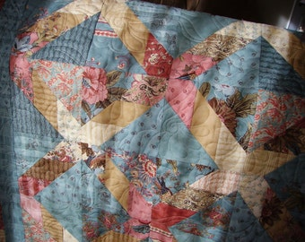 Lap Quilt, Quilted Sofa Throw,  Quiltsy Handmade