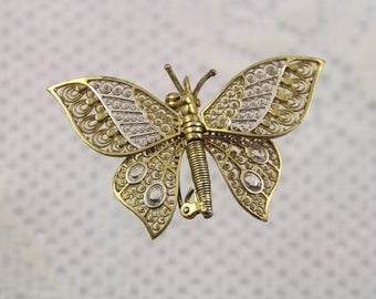 Lovely Van Lou Germany Articulated Filigree Sterling Butterfly Brooch
