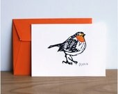 Robin redbreast postcard with orange envelope, original linocut print, hand painted, signed and dated