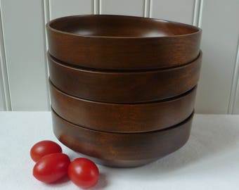 Set 4 Wood Salad Bowls. Woodbury's Woodware of Vermont. Vintage 1960s. Wooden Snack Bowls. Mid Century Modern MCM. Hand Turned.