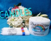 Blended Family Rainbow Design Unity Candle With Tapers and Tealights