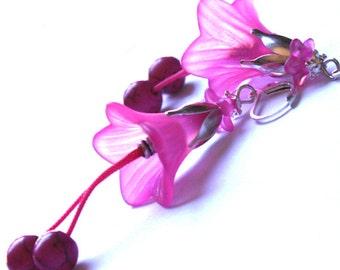 Morning Glory Earrings - Fuchsia - Hard Pink