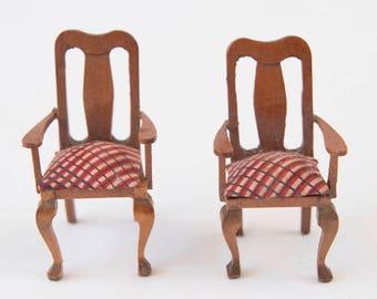 Dollhouse Chairs, Vintage Miniature Chairs, 50s Dollshouse Chairs