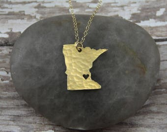 Gold Minnesota State Necklace - I Heart Minneapolis Necklace - Gold Minnesota Necklace - Gold Minnesota Pendant