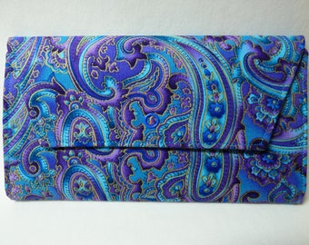 Paisley Fabric Wallet (turquoise, purple)