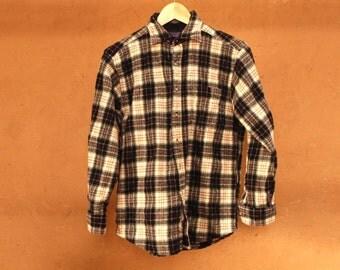 60s plaid Pendleton style HUNTERS black & brown WOOL jacket shirt