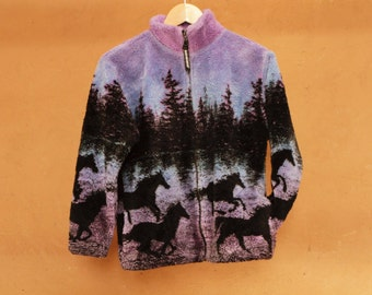PURPLE southwest 90s CROPPED wild HORSES boxy long sleeve fleece coat jacket
