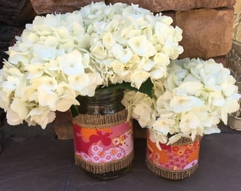 Mason Jar Wrap, Pink, Butterfly, Floral, Mason Jar Decoration, Baby Shower, Party, Wedding Decoration