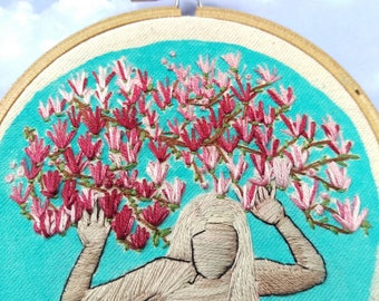 "Spring Flowers Embroidery. Hand Embroidered Hoop Art. 4"" Embroidery Hoop. Modern Hand Embroidery. Hand Stitched Flowers and Woman. HOOPLA"