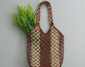 Vintage 1990s Woven Market Tote. Natural Farmers Market Tote. Medium Tote Bag