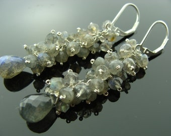 Long Flash Labradorite 925 Sterling Silver Cluster Leverback Earrings
