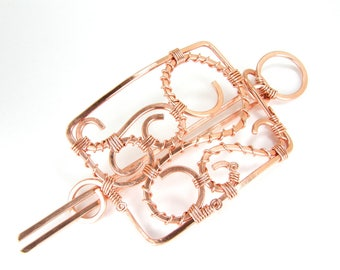 Custom Hammered Copper Hair Slide For Big Hair Hand Crafted Hair Accessory