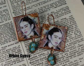 Frida Kahlo Inspired Frida Kahlo Caricature Painting Dangle Caricature  Portrait Earring