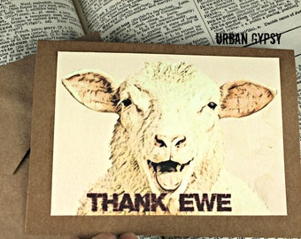 C 107 Thank You Card  Humorous Thank You Paper Card  Funny Card Handmade Card