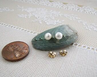Elegant 14k genuine gold fine White Pearl Stud Earrings, 5 mm