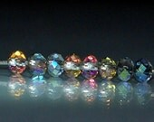 25 pcs 4x3mm Transparent Clear w/Rainbow Firepolish Rondelle Glass Beads TFP-2