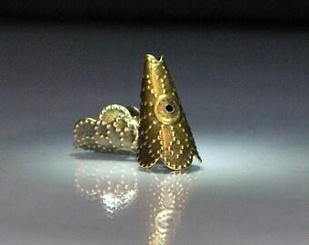 14 pcs 9x17mm Antique Bronze Filigree Scalloped Edge Bendable Bead Caps Cones Antique Brass