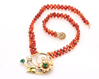Hand Woven Burnt Orange Agate Flower Necklace with Filigree Clasp