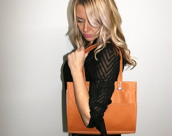 Vegan Shoulder Bag in Shimmering Orange. Two Toned Vegan Purse Faux Leather Tote