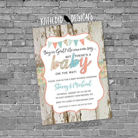 wood twins rustic chic Surprise gender reveal diaper wipe brunch bunting banner baby shower invitation gay couple 1476 Katiedid Designs