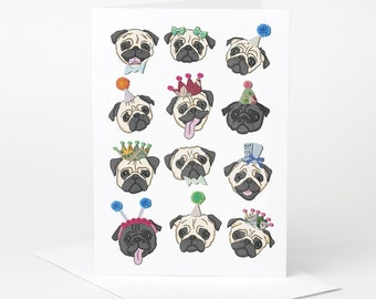 Pug Card (pug birthday card, pug love card, dog celebration card, funny pug card, pug illustration, pug lover card)