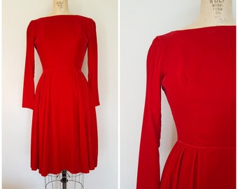 Vintage 1950s Red Velvet Dress / Christmas Dress / Holiday Dress / Red Dress / XS