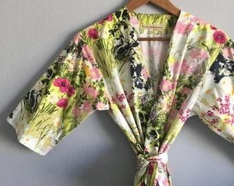 Bridesmaid Robes. Bridemaid Robe. Bridal Robe. Bridesmaid Pajamas. Kimono Robe. Bridesmaid Robes. Modern Kimono Spring is Here Collection.