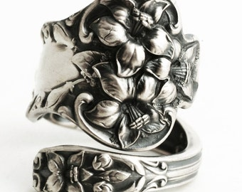 "Magnolia Ring, Flower Ring, Sterling Silver Spoon Ring, Antique Watson ""Bridal Flower"" ca 1910, Gift for Her, Adjustable Ring Size (6353)"