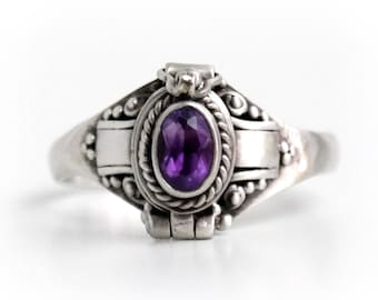 Amethyst Poison Ring, Oval Purple Locket Ring, Sterling Silver Chamber Ring, Amythest Birthstone Secret Compartment Ring, SIZE 8, 9 (P3)