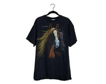Vintage Horse Portrait Lake Tahoe Black 100% Cotton Crewneck T-shirt - Large