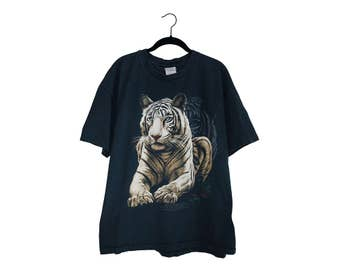 Vintage White Bengal Tiger Black 100% Cotton Crewneck T-Shirt, Made in USA - XL
