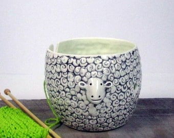 Yarn bowl sheep Knitting or crochet bowl Knitter gift  Ready to ship Mother's day