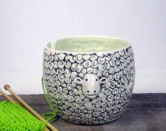Yarn bowl sheep Knitting bowl Knitter gift  Ready to ship