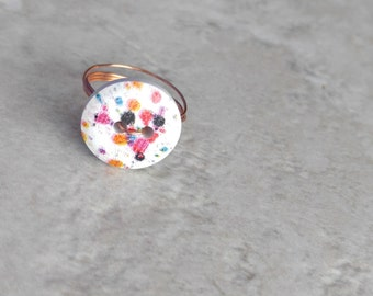 Spotted ring, button rings, gift for her, womens fashion, affordable ring, handmade, valentines day gifts, gift for girlfriend, promise ring