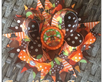 Thanksgiving Turkey Gobble Boutique Hairbow