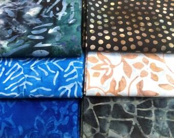 Batik Fabric Bundle  6 Fat Quarters  Beautiful Blues Assortment Quilting Weight Cotton Fabric Boundless Mixers Stash Builder Quiltsy Destash
