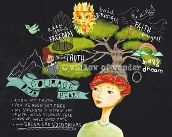 Courage Dear Heart illustration artwork to encourage