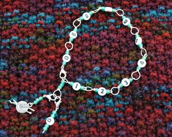 Green Row Counter Bracelet for Knitting or Crochet
