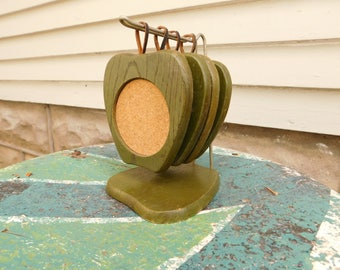Vintage Wood and Cork Coasters With Holder, Green Apples Coaster Set