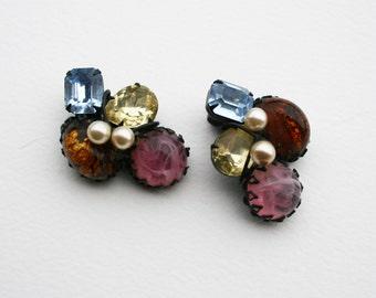 Sale Huge Vintage Rhinestone Cabochon Earrings