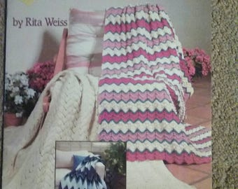 New Ripple Afghans, Knit and Crochet, American School of Needlwork, Rita Weiss, 17 page book, OFG