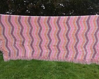 Afghan, Hand Crocheted, Ripple with Fringe, Blanket