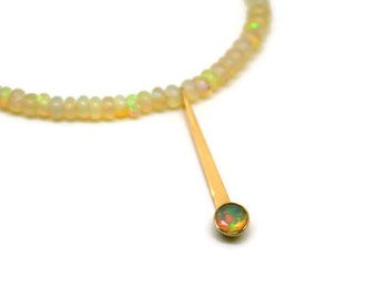 18k Gold and Opal Necklace - gift for her, ethiopian opal, yellow opal, minimalist necklace, forged, handmade artisan, faceted, ooak