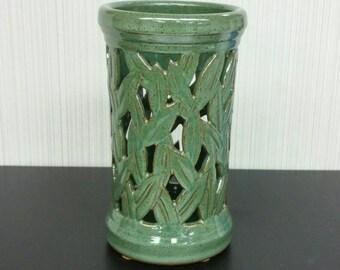NEW Green Leaf Votive, Carved Ceramic Candle Holder, Dried Flower Vase, Lantern, Organizer
